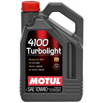 Полусинтетическое моторное масло Motul 4100 Turbolight 10W-40 (5 л)